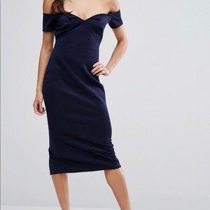 ASOS Club Bardot V Scuba Pencil Midi Dress